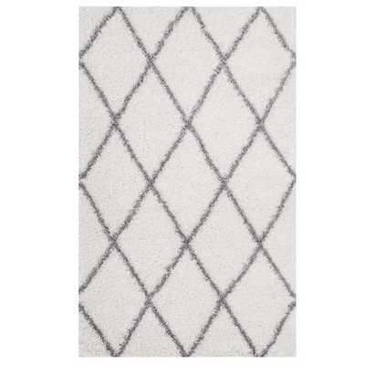 TORYN DIAMOND LATTICE 8X10 SHAG AREA RUG IN IVORY AND GRAY - Modway Furniture