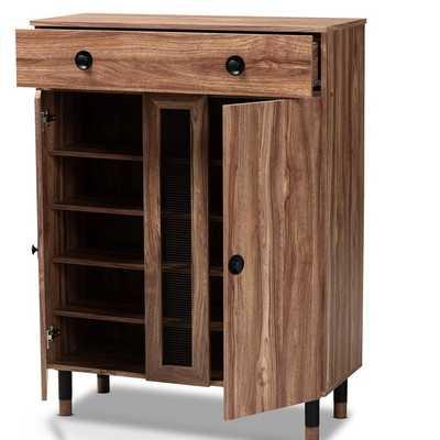Modern and Contemporary 2 Door Wood Entryway 15 Pair Shoe Storage Cabinet - Wayfair