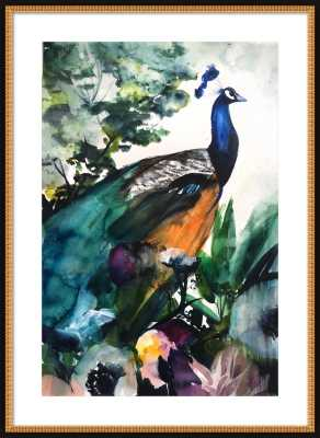 """Peacock Garden - 32x44"""" - Flat Black Double Bead Wood Frame with Matte - Artfully Walls"""
