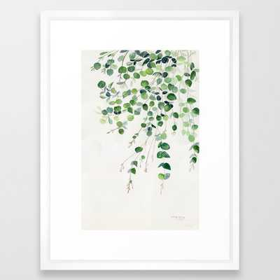Eucalyptus Watercolor Framed Art Print-20x26 vector white - Society6