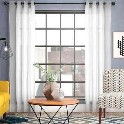 "Mcinnis Sheer Solid Grommet Curtain Panel - 108"" - White - Birch Lane"