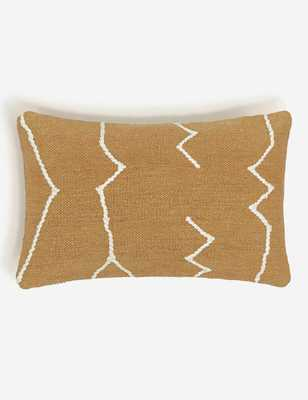 MOROCCAN FLATWEAVE LUMBAR PILLOW, OCHRE BY SARAH SHERMAN SAMUEL WITH DOWN INSERT - Lulu and Georgia