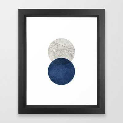 Marble blue navy circle Framed Art Print - Society6