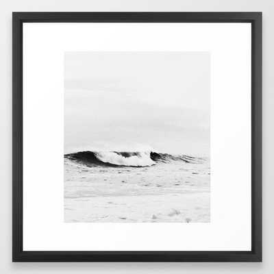 "Minimalist Black and White Ocean Wave Photograph Framed Art Print 20"" x 20"" Vector Black - Society6"