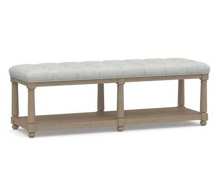 Berlin Tufted Bench, Basketweave Slub Ash - Pottery Barn