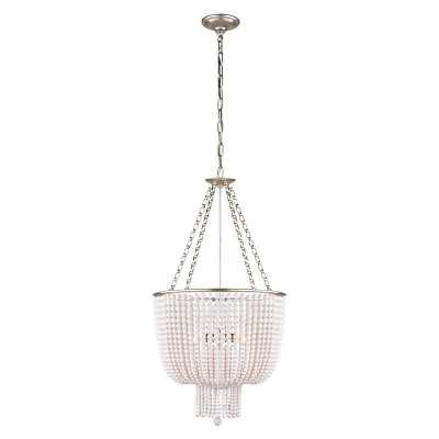 JACQUELINE SMALL CHANDELIER WITH WHITE ACRYLIC SHADE - BURNISHED SILVER LEAF - McGee & Co.