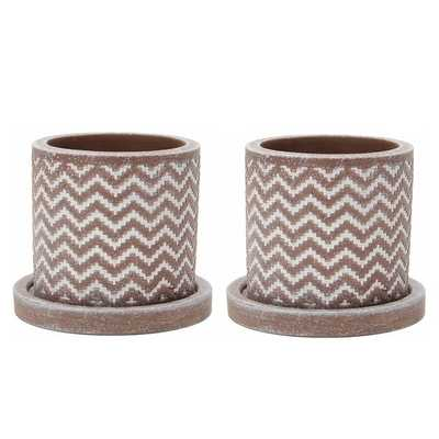 Bernhard 2-Piece Concrete Pot Planter Set - Brown - Wayfair