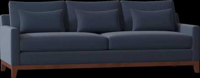 "Moss Studio Jaclyn 96"" Round Arm Sofa Body Fabric: Handsome Midnightl, Leg Color: Chestnut - Perigold"