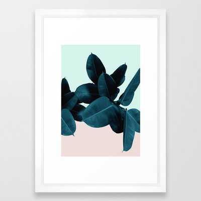 """Blue Leaves Framed Art Print -15""""x21"""" Vector White - Society6"""