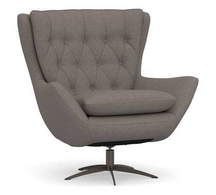 Wells Upholstered Swivel Armchair with Bronze Base, Polyester Wrapped Cushions, Performance Brushed Basketweave Charcoal - Pottery Barn
