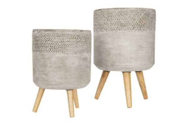 Grey Cement Planter with Removable Wood Legs (Set of 2 Sizes) - Nomad Home