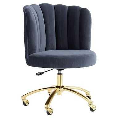 Channel Stitch Task Chair: Lustre Velvet Dusty Indigo - Pottery Barn Teen