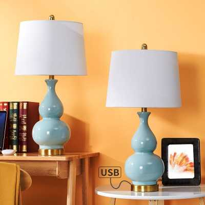 "Romolo 26.75"" Table Lamp Set with USB (Set of 2) - Wayfair"