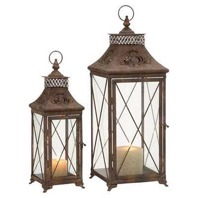 2 Piece Tall Glass and Metal Lantern Set - Wayfair
