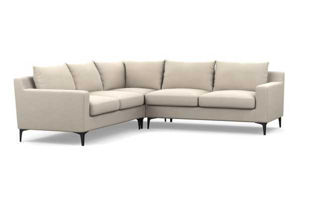"Sloan Corner Sectional Sofa - Natural- Heavy Cloth - Matte Black Sloan L Leg - 105"" - Interior Define"