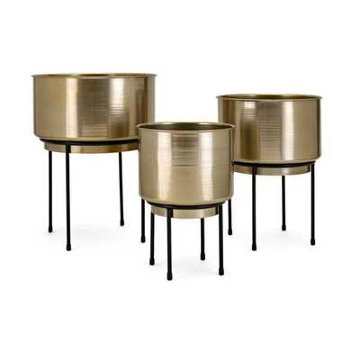 Bladdo Metal Planters on Stand - Set of 3 - Mercer Collection