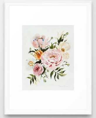 Loose Peonies & Poppies Floral Bouquet Framed Art Print - Society6