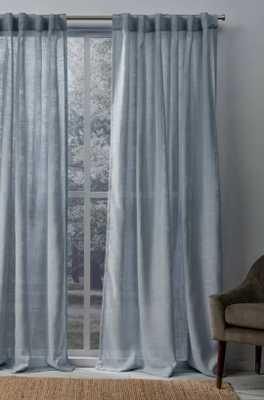 Leon Solid Color Sheer Tab Top Curtain Panels (set of 2) - Wayfair
