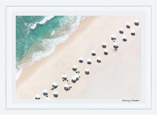 """Southampton White Umbrellas, 36""""x54"""", white frame - Gray Malin"""