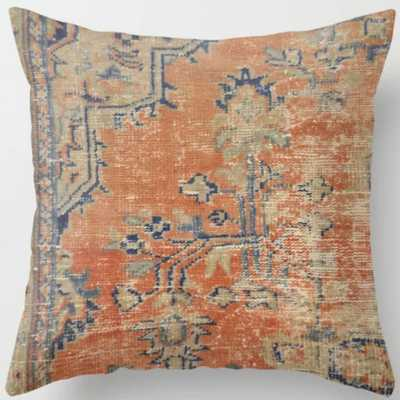 "Vintage Woven Navy and Orange Throw Pillow, Indoor, 20"" X 20"" - Society6"