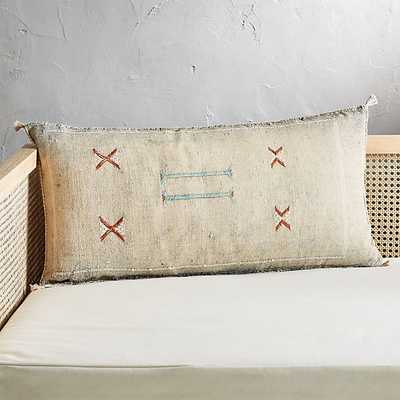"""36""""x16"""" cactus silk grey pillow with feather-down insert - CB2"""