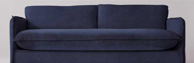 "Neva 84"" Sofa- Washed Cotton Velvet Star Sapphire - Sixpenny"