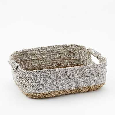 Two-Tone Woven Baskets – Natural/White Underbed Basket - West Elm