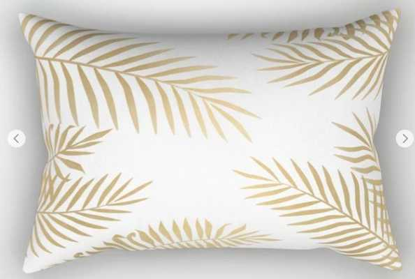 Gold Palm Leaves Pillow - 17 x 12 - Society6