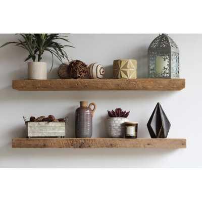 Reclaimed Barn Wood Floating Shelf - 3' - set of 2 - Wayfair