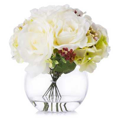 Rose And Hydrangea Silk Flower Arrangement In Round Vase - Wayfair