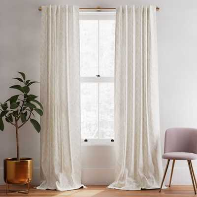 """Cotton Canvas Fragmented Lines Curtains, 48""""x96"""", Iron Gate-set of 2 - West Elm"""