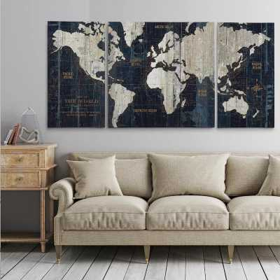 """'Old World Map Blue' Framed Graphic Art Print on Wrapped Canvas24"""" H x 48"""" W x 2"""" D - Wayfair"""