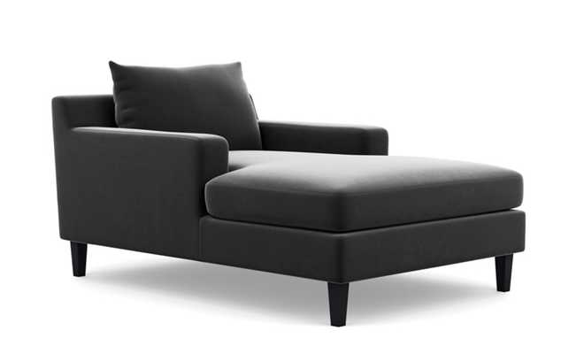 SLOAN CHAISE Chaise Lounge - Narwhal Mod Velvet - Painted Black Tapered Square Wood Leg - Interior Define