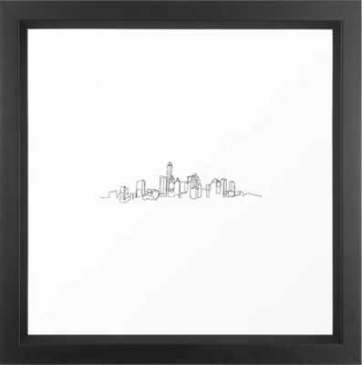 Austin Skyline Drawing Framed Art Print - Society6