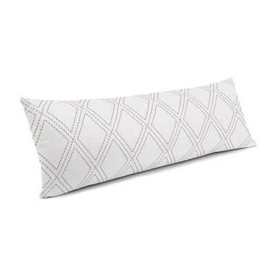 Large Lumbar Pillow _Diamonds Are Forever - Ash- 14x48 - Down insert - Loom Decor