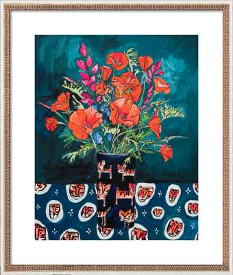 California Poppies and Lupine in Tiger Vase on Emerald Green - Artfully Walls