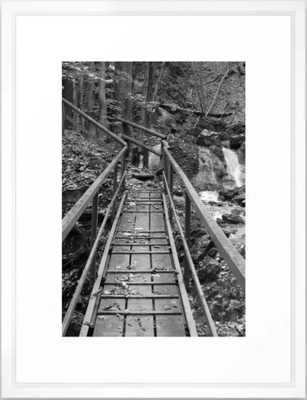 wooden bridge Fischbach, black and white photography Framed Art Print, medium - Society6
