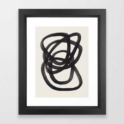 Mid Century Modern Minimalist Abstract Art Brush Strokes Black & White Ink Art Spiral Circles Framed Art Print by EnShape - Society6