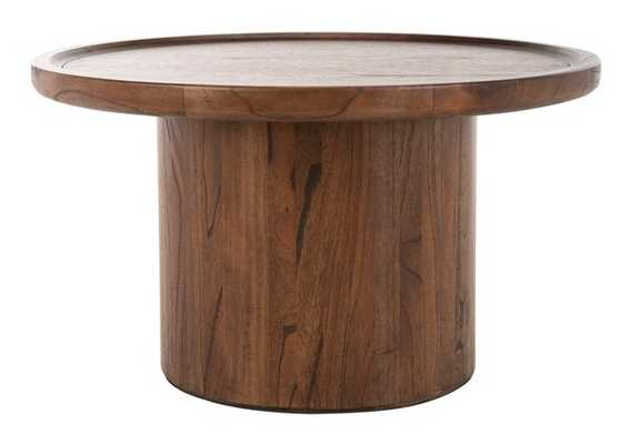 Devin Round Pedestal Coffee Table - Dark Brown - Arlo Home - Arlo Home