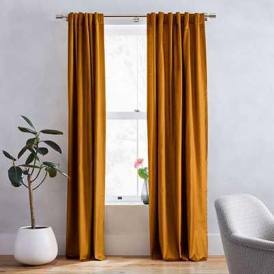 """Cotton Luster Velvet Curtain - Golden Oak, 96"""" Long - West Elm"""