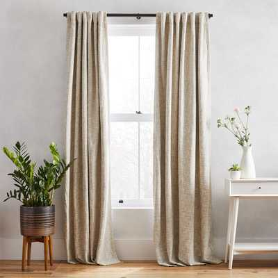 "Textured Weave Curtain + Blackout Lining - Ivory - 96"" - SINGLE PANEL - West Elm"