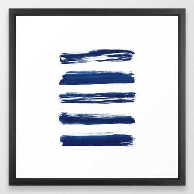 "Indigo Brush Strokes | No. 2 Framed Art Print, FRAME Vector Black, SIZE Medium (gallery) - 22"" X 22"", - Society6"