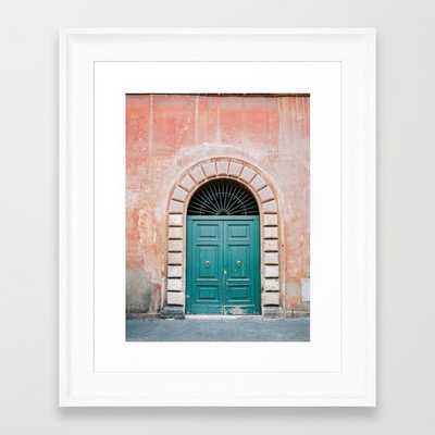 Turquoise Green door in Trastevere, Rome. Travel print Italy - film photography wall art colourful. Framed Art Print - Society6