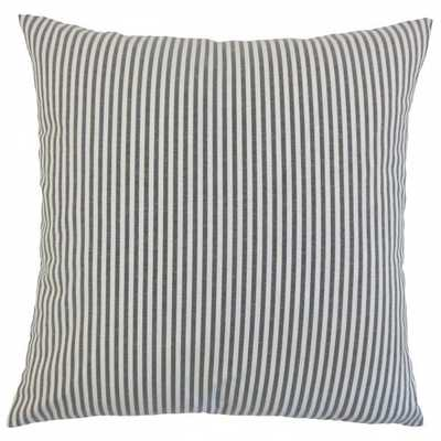 "Ira Stripes Pillow Black-20"" x 20""-Down Insert - Linen & Seam"