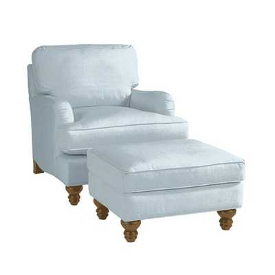 Ballard Designs Eton Club Chair & Ottoman - Linen French Blue & Driftwood Leg - Ballard Designs