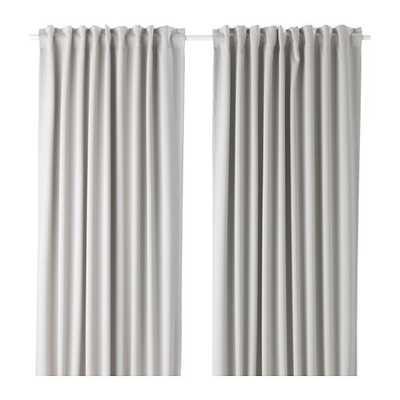 MAJGULL Blackout curtains, 1 pair, light gray - Ikea