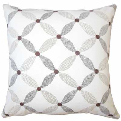 "Hadarezer Geometric Pillow Mocha - 18""x18"" with down insert - Linen & Seam"
