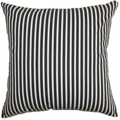 "Elvy Stripes Pillow Black White - 18"" x 18"" with Polyester Insert - Linen & Seam"