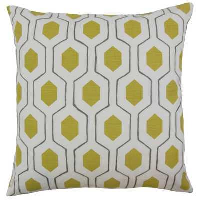 """Flynn Geometric Pillow Chartreuse - 20"""" x 20"""" - Down insert - Linen & Seam"""