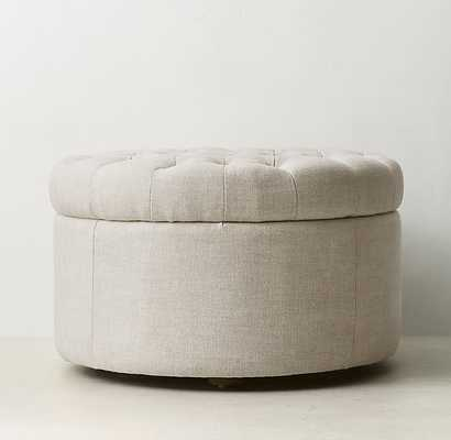 TUFTED ROUND STORAGE OTTOMAN - RH Teen